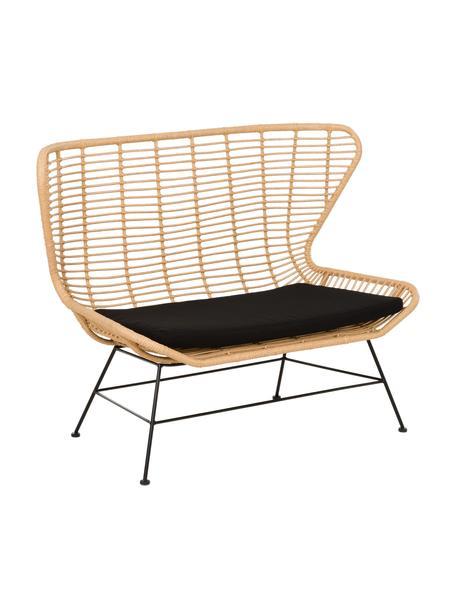 Polyrattan-Sitzbank Costa, Sitzfläche: Polyethylen-Geflecht, Gestell: Metall, pulverbeschichtet, Hellbraun, Schwarz, B 137 x T 73 cm