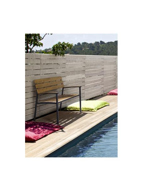 Panchina da giardino Isak, Seduta: compensato rivestito, Struttura: alluminio verniciato a po, Antracite, marrone, Larg. 123 x Alt. 86 cm