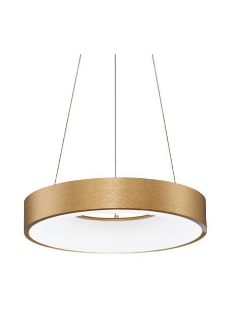 Dimbare LED hanglamp Rando in goudkleur, Lampenkap: gecoat aluminium, Diffuser: acryl, Baldakijn: gecoat aluminium, Goudkleurig, Ø 38 x H 6 cm