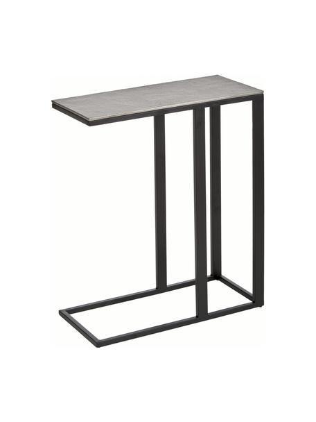Stolik pomocniczy w stylu industrialnym Edge, Blat: metal powlekany, Stelaż: metal malowany proszkowo, Blat: odcienie srebrnego z antycznym wykończeniem Stelaż: czarny, matowy, S 45 x W 62 cm