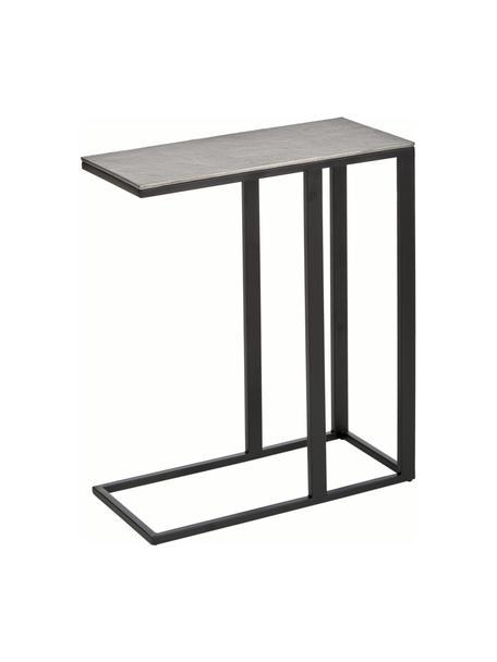 Tavolino industrial in metallo Edge, Struttura: metallo, verniciato a pol, Piano: argentato con finitura antica Struttura: nero opaco, Larg. 45 x Alt. 62 cm