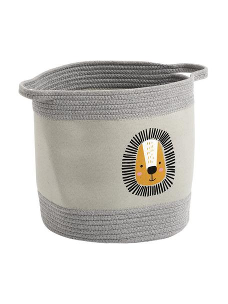 Aufbewahrungskorb Löwe, 90% Polyester, 10% Baumwolle, Grau, Gelb, Ø 30 x H 30 cm