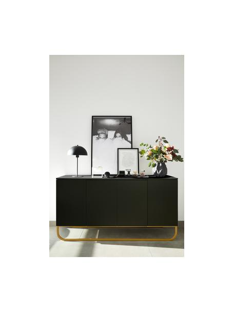 Klassisches Sideboard Sanford in Schwarz mit Türen, Korpus: Mitteldichte Holzfaserpla, Schwarz, Goldfarben, 160 x 83 cm