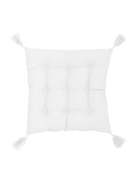 Cuscino sedia bianco con nappe Ava, Rivestimento: 100% cotone, Bianco, Larg. 40 x Lung. 40 cm