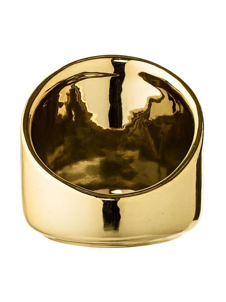 Teelichthalter Mara, Steingut, Goldfarben, Ø 8 x H 8 cm