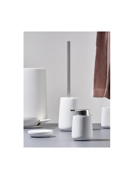 Toilettenbürste Nova mit Porzellan-Behälter, Behälter: Porzellan, Griff: Edelstahl, Weiß matt, Edelstahl, Ø 10 x H 43 cm