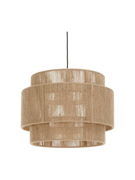 Boho hanglamp Cecillia van jute, Baldakijn: gepoedercoat metaal, Lampenkap: jute, metaal, Bruin, Ø 45 x H 33 cm