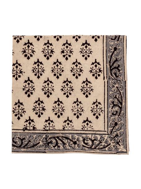 Serwetka z tkaniny Kira, 4 szt., Bawełna, Beżowy, czarny, S 50 x D 50 cm