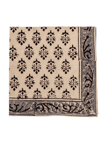 Tovagliolo di stoffa Kira 4 pz, Cotone, Beige, nero, Larg. 50 x Lung. 50 cm