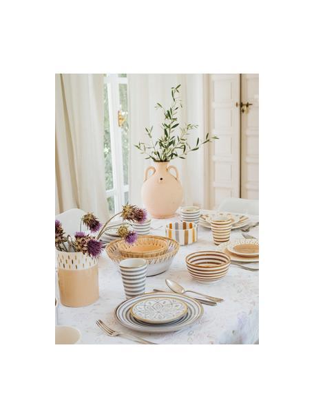 Taza artesanal Beldi, estilo marroquí, Cerámica, Gris claro, crema, oro, Ø 8 x Al 11 cm