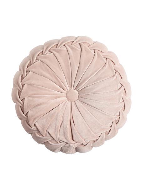 Cojín redondo de terciopelo Kanan, con relleno, Funda: 100%terciopelo de algodó, Rosa pastel, Ø 40 cm