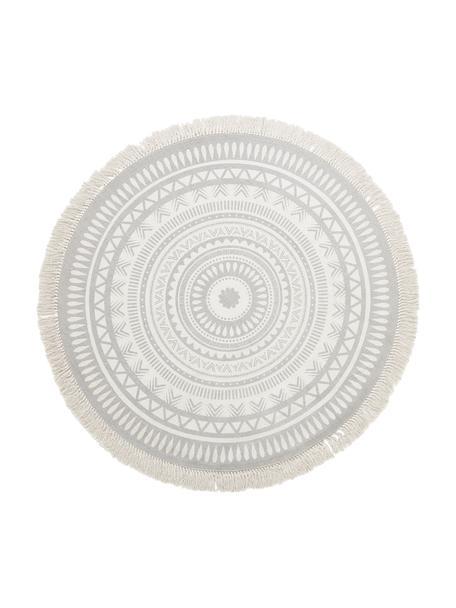 Alfombra redonda artesanal con flecos Benji, 100%algodón, Gris claro, beige, Ø 150 cm (Tamaño M)