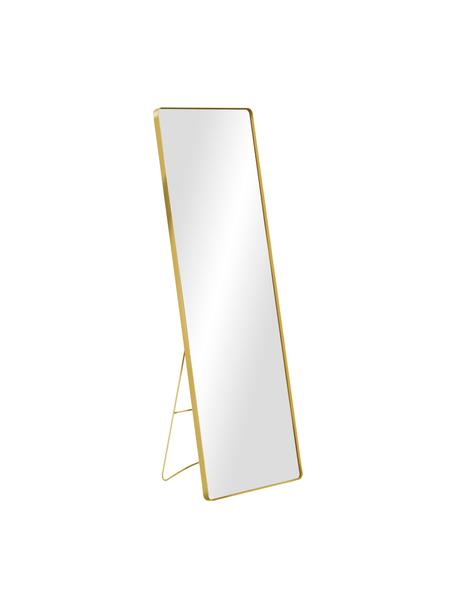 Eckiger Standspiegel Stefo mit goldfarbenem Metallrahmen, Rahmen: Metall, beschichtet, Spiegelfläche: Spiegelglas, Goldfarben, 45 x 140 cm