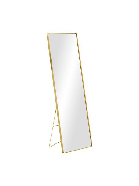 Specchio quadrato da appoggio con cornice in metallo dorato Stefo, Cornice: metallo rivestito, Superficie dello specchio: lastra di vetro, Dorato, Larg. 45 x Alt. 140 cm