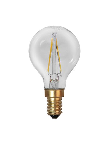E14 peertje, 1.5 watt, warmwit, 1 stuk, Peertje: glas, Fitting: aluminium, Transparant, messingkleurig, Ø 5 x H 8 cm