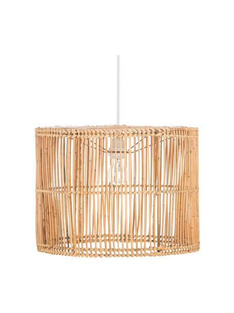 Lampa wisząca z rattanu Sea, Biały, rattan, naturalny, Ø 40 cm x W 30 cm