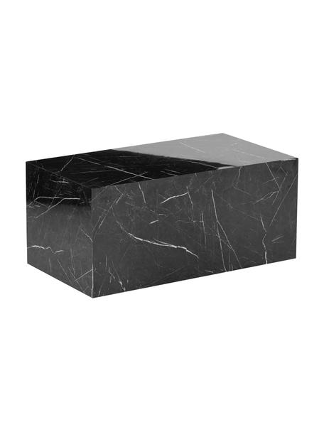 Stolik kawowy z imitacji marmuru Lesley, Płyta pilśniowa średniej gęstości (MDF) pokryta folią melaminową, Czarny, marmurowy, S 90 x G 50 cm