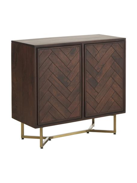 Dressoir Luca van massief hout met visgraat patroon, Frame: gelakt massief mangohout, Poten: gepoedercoat metaal, Bruin, 90 x 83 cm
