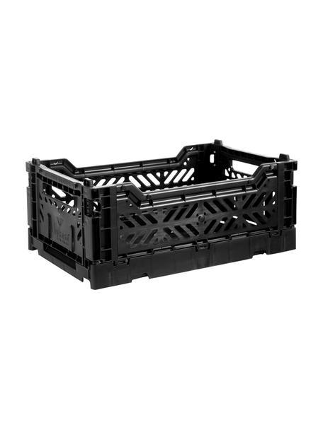 Krat Black, stapelbaar, klein, Gerecycled kunststof, Zwart, 27 x 11 cm