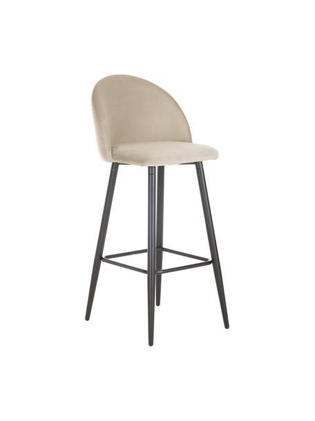 Samt-Barstuhl Amy in Cremeweiß, Bezug: Samt (Polyester) Der hoch, Beine: Metall, pulverbeschichtet, Samt Cremeweiß, 45 x 103 cm