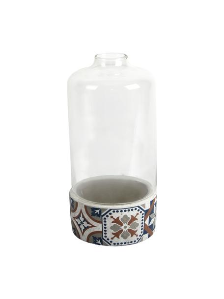 Anzuchtglocke Tiles, Glocke: Glas, Sockel: Beton, Mehrfarbig, Ø 15 x H 31 cm