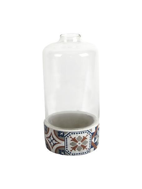 Groeistolp Tiles, Stolp: glas, Voetstuk: beton, Multicolour, Ø 15 x H 31 cm