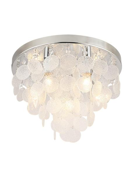 Plafondlamp Pardo van glas, Lampenkap: glas, Baldakijn: metaal, Chroomkleurig, transparant, Ø 40 x H 29 cm