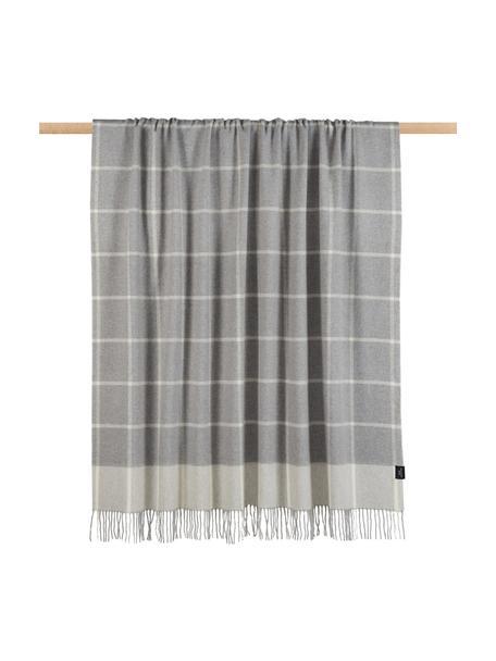 Plaid in lana a quadri Farison, 90% lana, 10% cashmere, Grigio chiaro, grigio medio, Larg. 140 x Lung. 200 cm