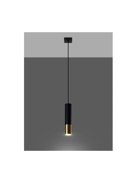 Kleine hanglamp Longbot in zwart-goudkleur, Lampenkap: gecoat staal, Baldakijn: gecoat staal, Frame: zwart gelakt eikenhout. Voet: goudkleurig, Ø 6 x H 30 cm