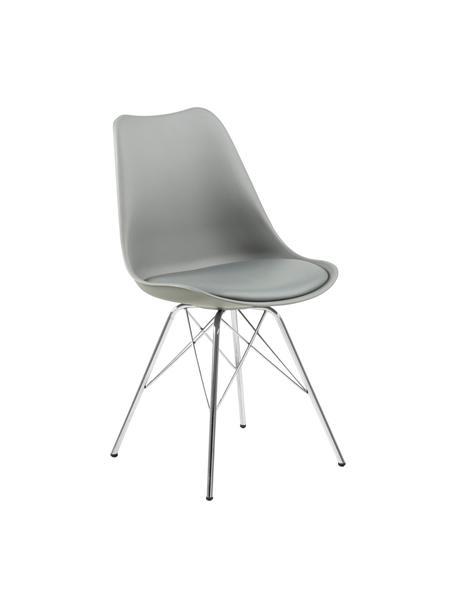 Kunststoffen stoelen Eris, 2 stuks, Zitvlak: kunststof, Zitvlak: kunstleer, Poten: verchroomd metaal, Grijs, poten chroomkleurig, B 49 x D 54 cm