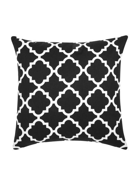 Federa arredo nera con motivo grafico Lana, 100% cotone, Nero, bianco, Larg. 45 x Lung. 45 cm
