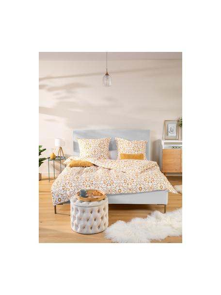 Łóżko tapicerowane Peace, Korpus: lite drewno sosnowe i pły, Tapicerka: poliester (tkanina strukt, Nogi: metal malowany proszkowo, Jasny szary, S 140 x D 200 cm