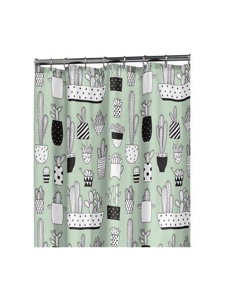 Zasłona prysznicowa Cactus, Tworzywo sztuczne (PEVA) Produkt wodoodporny, Zielony, czarny, biały, S 180 x D 200 cm