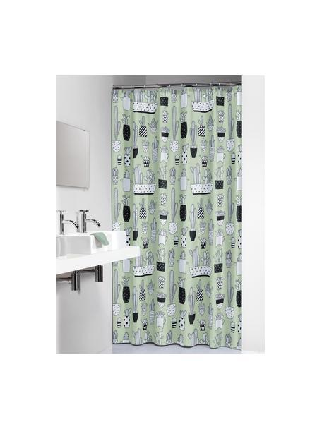 Tenda da doccia con stampa Cactus, Materiale sintetico (PEVA), impermeabile, Verde, nero, bianco, Larg. 180 x Lung. 200 cm