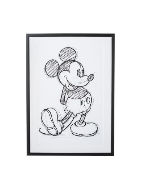 Impresión digital enmarcada Mickey, Blanco, negro, An 50 x Al 70 cm
