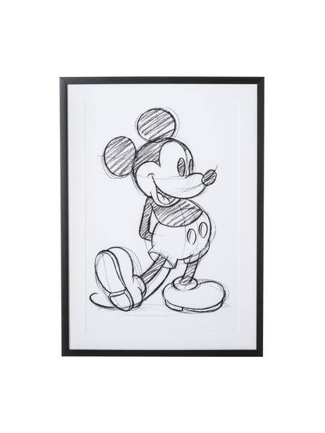 Ingelijste digitale print Mickey, Lijst: kunststof, Wit, zwart, 50 x 70 cm