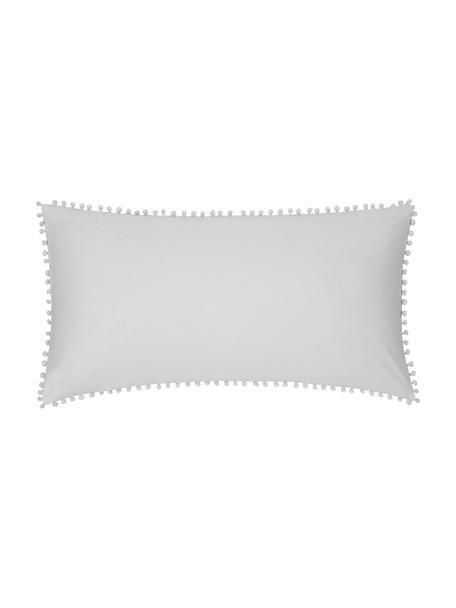Poszewka na poduszkę z perkalu z pomponami Bommy, 2 szt., Jasny szary, S 40 x D 80 cm