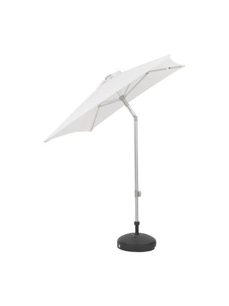 In hoogte verstelbare parasol Elba, knikbaar, Frame en spaken: aluminiumkleurig. Bespanning:  wit, 200 x 250 cm