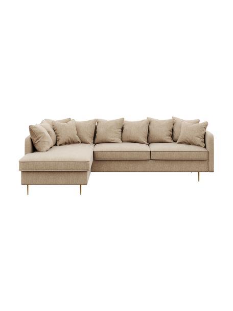 Sofa narożna Esme (4-osobowa), Tapicerka: 100% poliester Dzięki tka, Nogi: metal powlekany, Beżowy, S 255 x G 165 cm