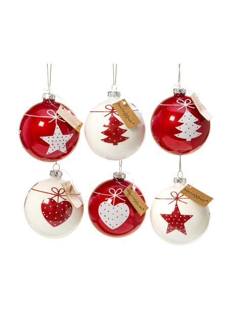 Weihnachtskugel-Set Gerdi Ø 8 cm, 6-tlg., Rot, Weiß, Ø 8 cm