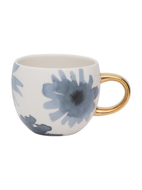 Bemalte Tasse Good Evening mit goldenem Griff, Steingut, Weiß, Blau, Goldfarben, Ø 11 x H 9 cm