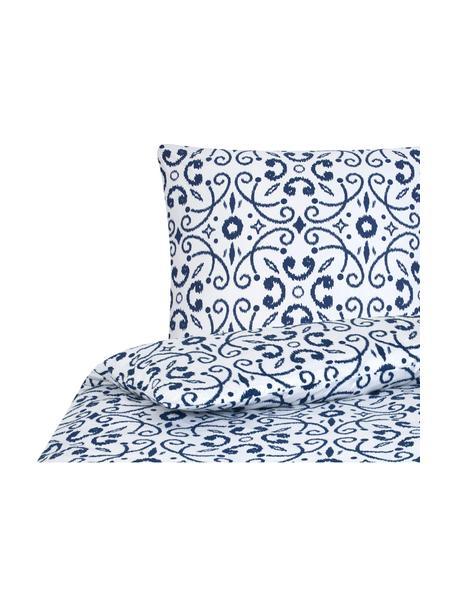Baumwoll-Bettwäsche Ashley in Blau/Weiss, Webart: Renforcé, Weiss, Blau, 135 x 200 cm + 1 Kissen 80 x 80 cm