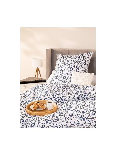 Baumwoll-Bettwäsche Ashley in Blau/Weiss, Webart: Renforcé Fadendichte 144 , Weiss, Blau, 135 x 200 cm + 1 Kissen 80 x 80 cm