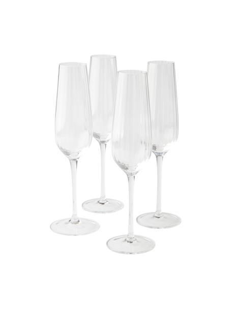 Copas de champán Akia, 4 uds., Vidrio, Transparente, Ø 7 x Al 25 cm