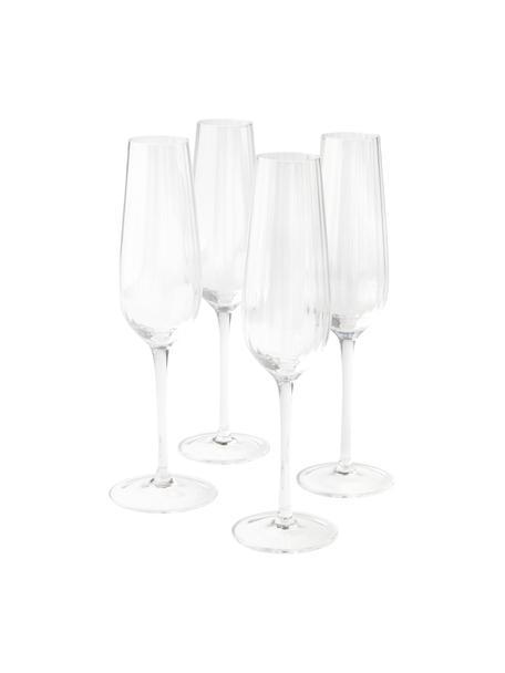 Sektgläser Akia mit Rillenstruktur, 4 Stück, Glas, Transparent, Ø 7 x H 25 cm