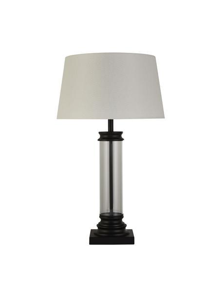 Große Tischlampe Column aus Glas, Lampenschirm: Stoff, Lampenfuß: Glas, Stahl, beschichtet, Weiß, Transparent, Schwarz, Ø 37 x H 50 cm