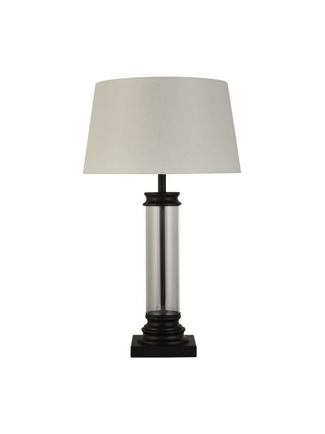 Lámpara de mesa grande de vidrio Column, Pantalla: tela, Blanco, transparente, negro, Ø 37 x Al 50 cm