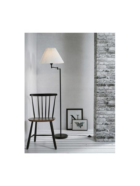 Design vloerlamp Break met plissé lampenkap, Lampenkap: kunststof, Lampvoet: gecoat metaal, Zwart, wit, Ø 44 x H 158 cm