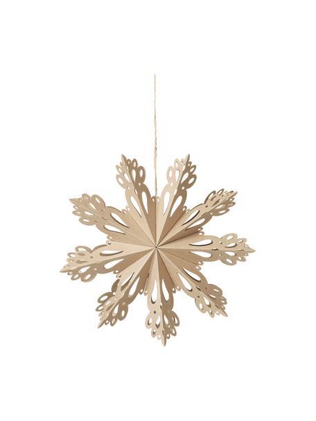 Ciondolo a fiocco di neve Snowflake, Carta, Beige, Ø 30 cm