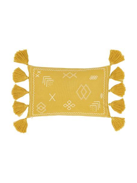 Bestickte Kissenhülle Huata, 100% Baumwolle, Gelb, Beige, 30 x 50 cm
